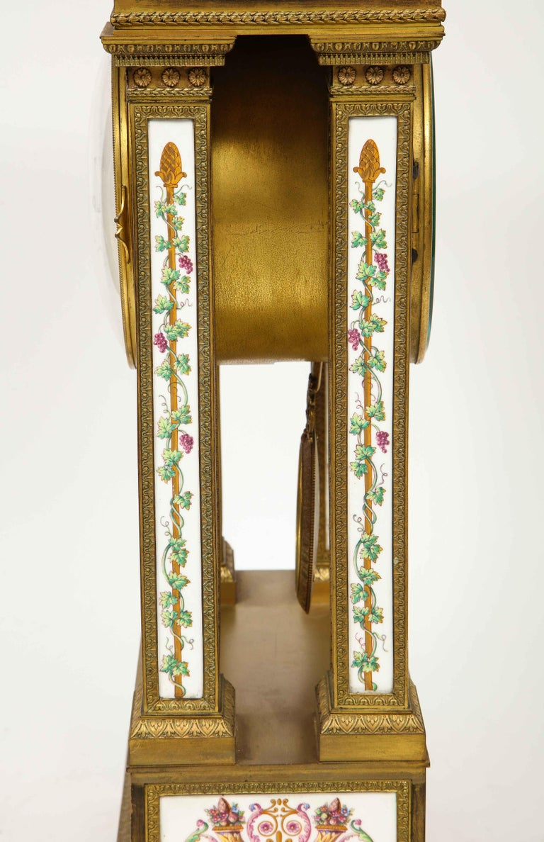 A Rare and Exquisite French Ormolu and Porcelain Clock, attributed to Deniere  For Sale 6