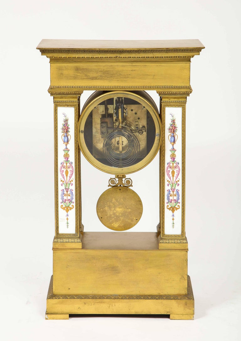 A Rare and Exquisite French Ormolu and Porcelain Clock, attributed to Deniere  For Sale 7