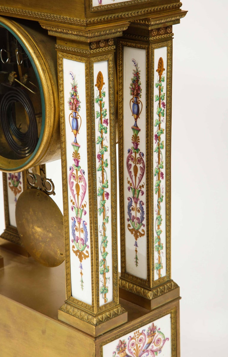 A Rare and Exquisite French Ormolu and Porcelain Clock, attributed to Deniere  For Sale 8
