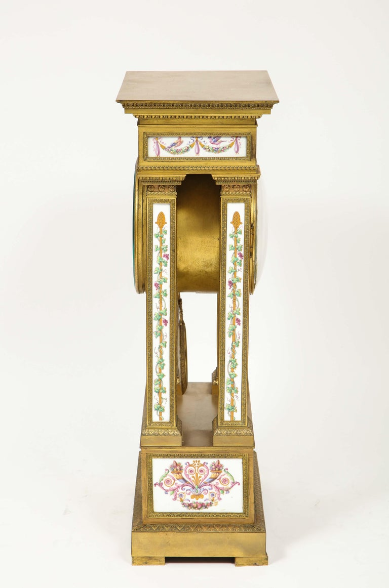 A Rare and Exquisite French Ormolu and Porcelain Clock, attributed to Deniere  For Sale 9