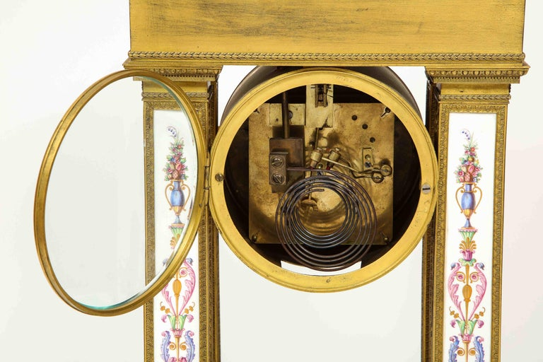 A Rare and Exquisite French Ormolu and Porcelain Clock, attributed to Deniere  For Sale 12
