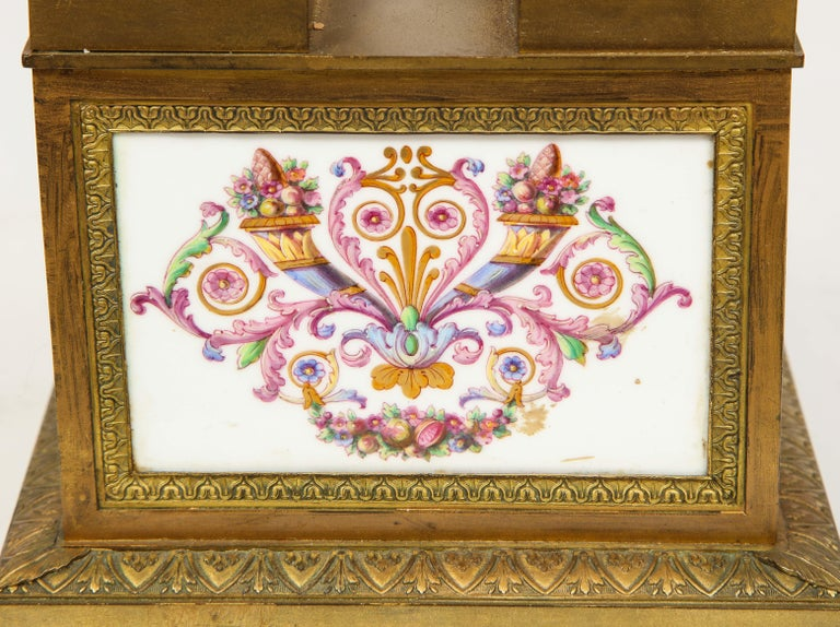 A Rare and Exquisite French Ormolu and Porcelain Clock, attributed to Deniere  For Sale 13