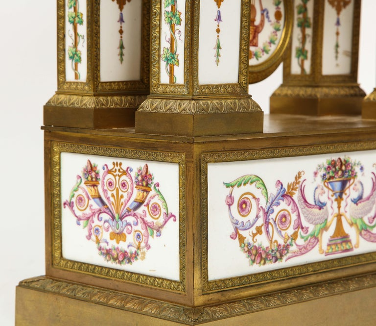 A Rare and Exquisite French Ormolu and Porcelain Clock, attributed to Deniere  For Sale 14