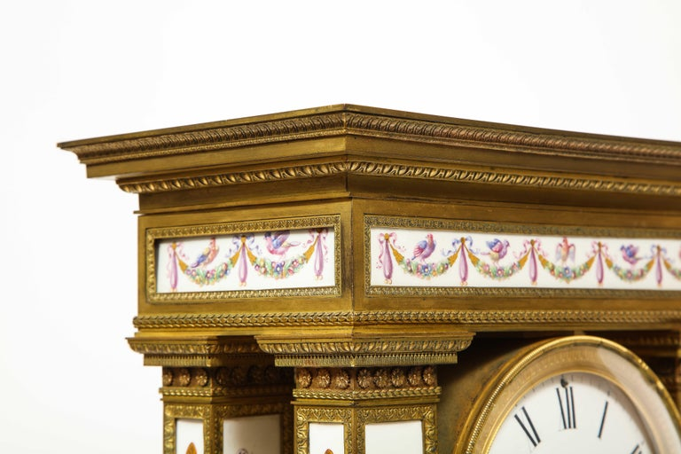 A Rare and Exquisite French Ormolu and Porcelain Clock, attributed to Deniere  For Sale 15