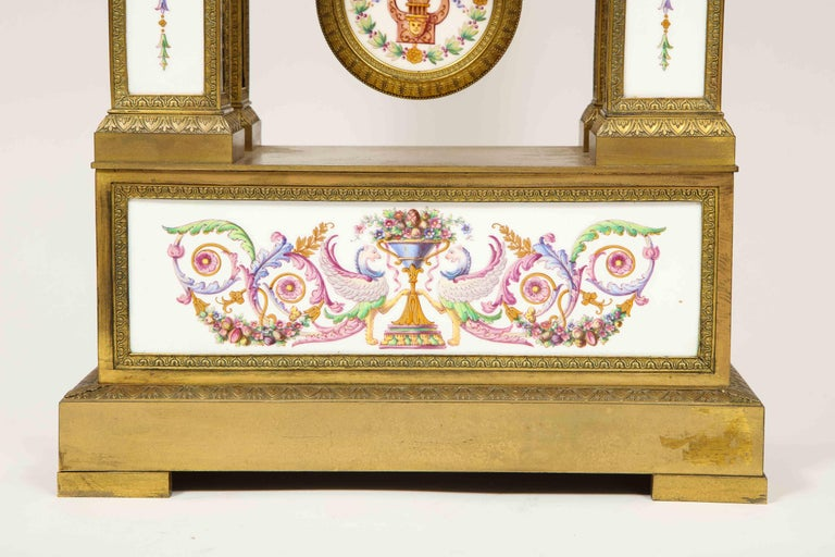 19th Century A Rare and Exquisite French Ormolu and Porcelain Clock, attributed to Deniere  For Sale
