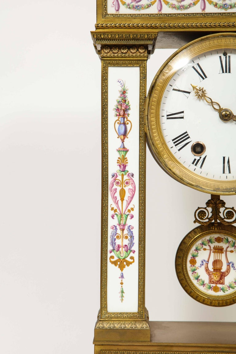 Bronze A Rare and Exquisite French Ormolu and Porcelain Clock, attributed to Deniere  For Sale