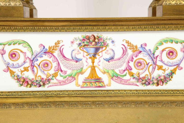 A Rare and Exquisite French Ormolu and Porcelain Clock, attributed to Deniere  For Sale 1