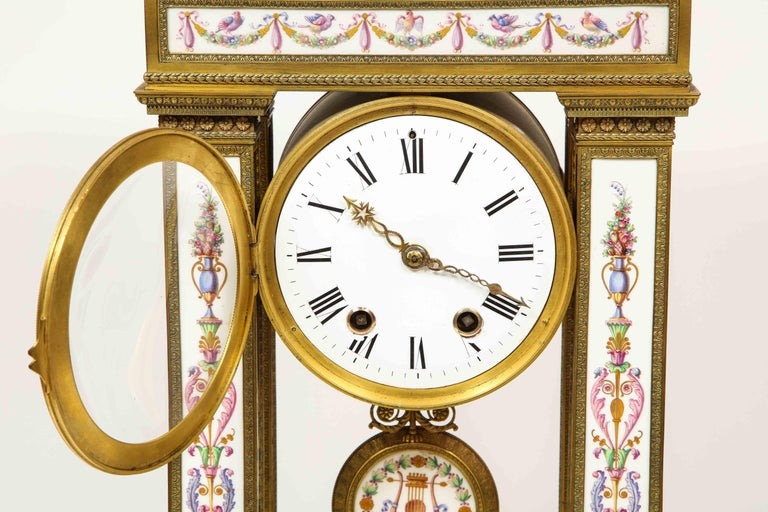 A Rare and Exquisite French Ormolu and Porcelain Clock, attributed to Deniere  For Sale 2