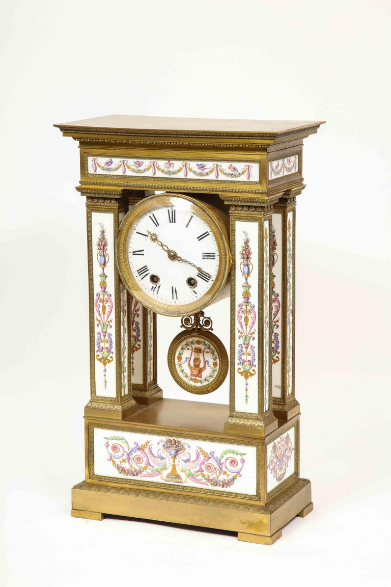 A Rare and Exquisite French Ormolu and Porcelain Clock, attributed to Deniere  For Sale 3