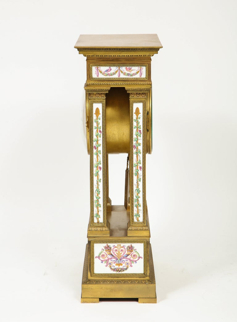 A Rare and Exquisite French Ormolu and Porcelain Clock, attributed to Deniere  For Sale 4