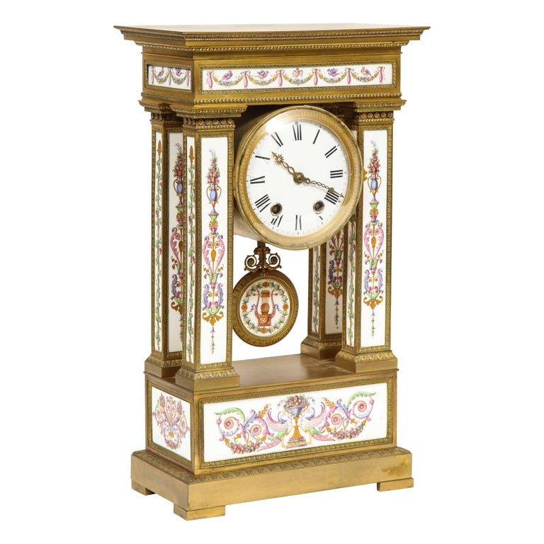 A Rare and Exquisite French Ormolu and Porcelain Clock, attributed to Deniere  For Sale