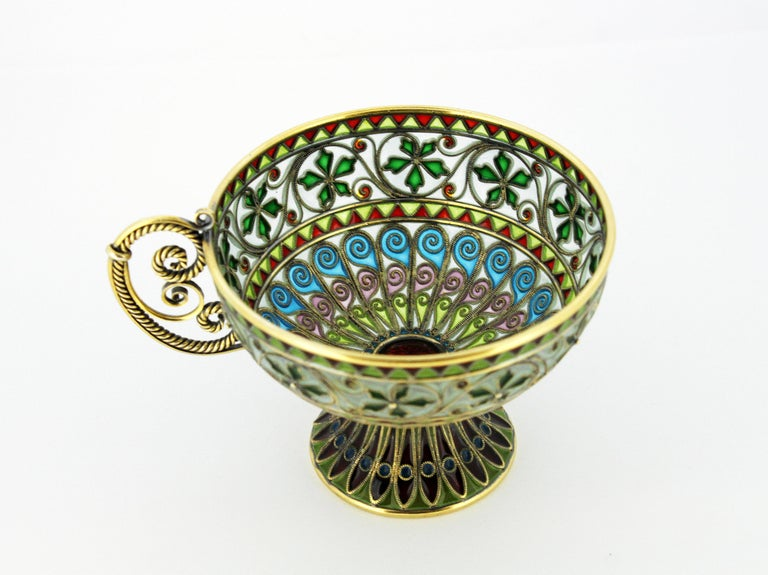 Rare and Fine Plique-à-jour Tea Cup and Plate by Marius Hammer For Sale 1