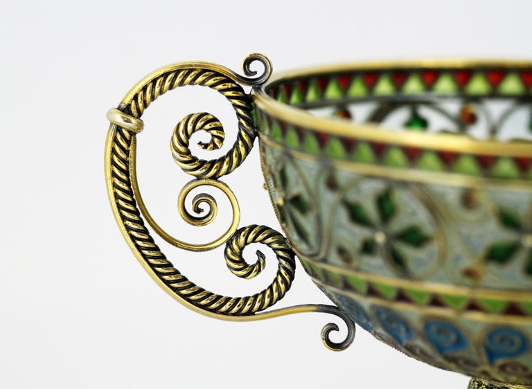 Rare and Fine Plique-à-jour Tea Cup and Plate by Marius Hammer For Sale 2