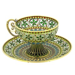 Rare and Fine Plique-à-jour Tea Cup and Plate by Marius Hammer