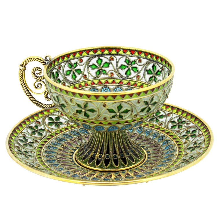 Rare and Fine Plique-à-jour Tea Cup and Plate by Marius Hammer For Sale