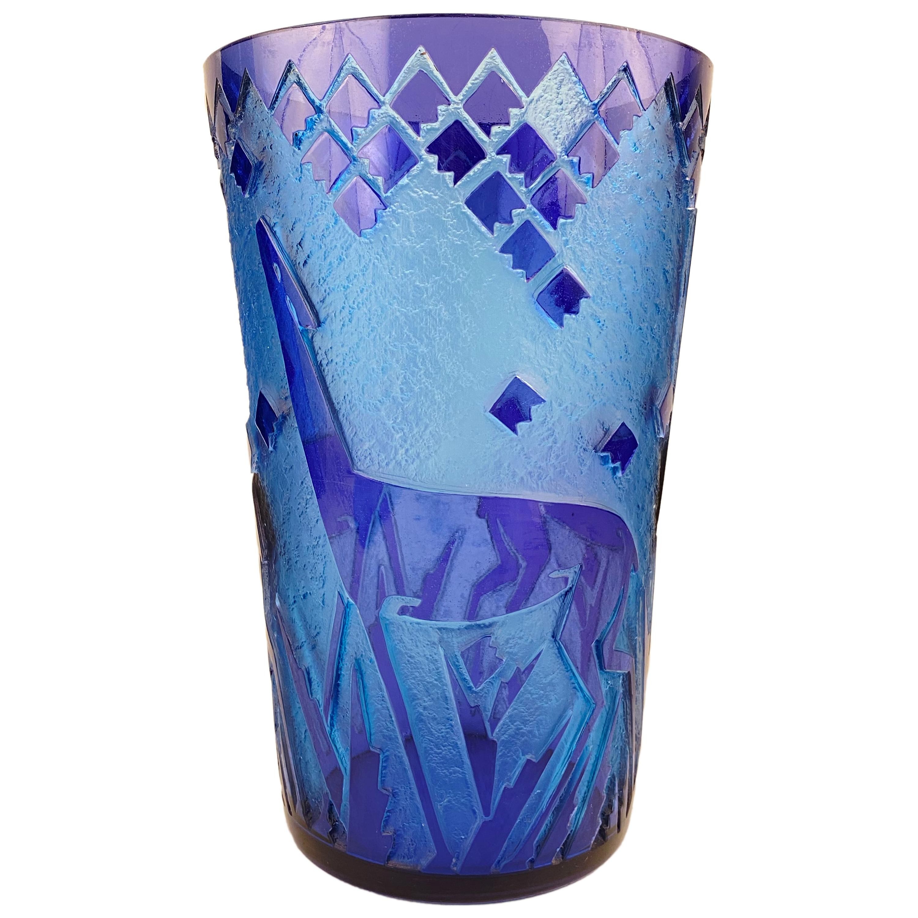 """Rare and Monumental French Art Deco Acid-Etched """"Fawn"""" Vase by, Daum Nancy"""