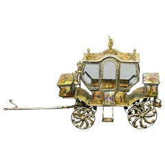 Rare and Special Late 19th Century Silver and Viennese Enamel Stagecoach
