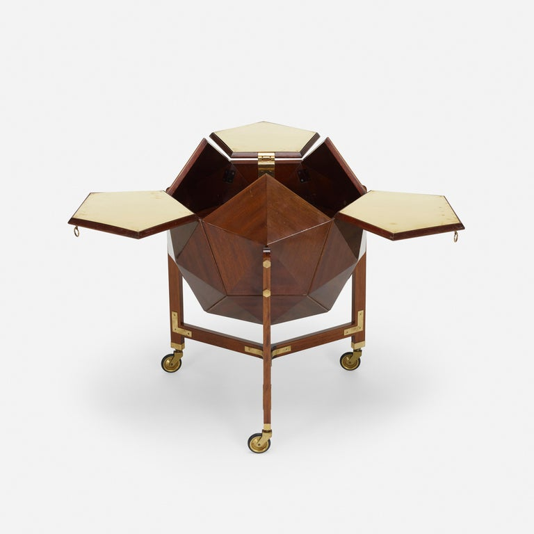 Mid-Century Modern Rare and Unusual Polyhedron Bar Cabinet by Vuillermoz For Sale