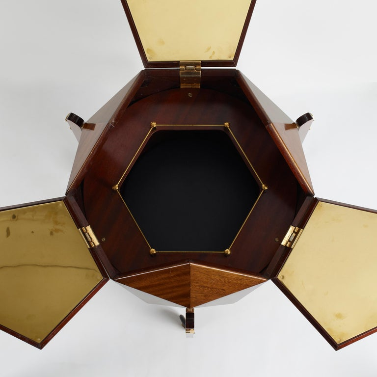 French Rare and Unusual Polyhedron Bar Cabinet by Vuillermoz For Sale