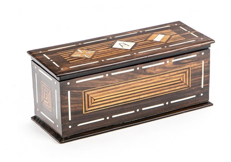 Folk Art A Rare And Very Fine Exotic Wood Box With Bone Inlay For Sale
