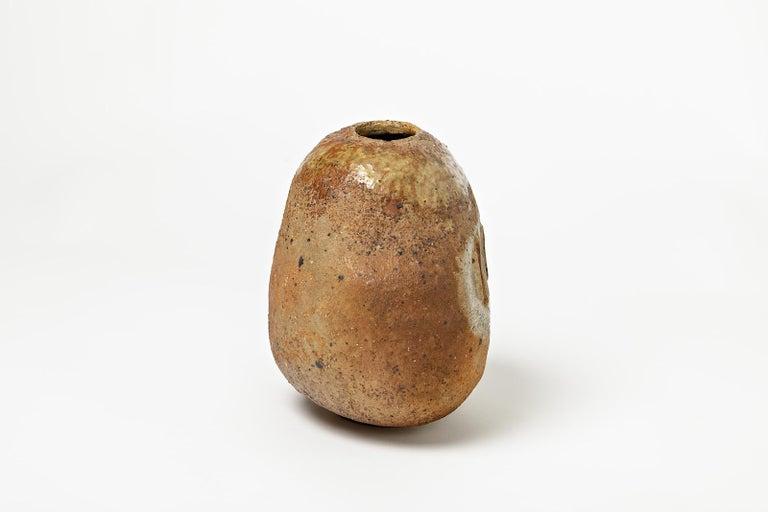 French Rare Ceramic Sculpture, Vase by Jean & Jacqueline Lerat, circa 1960-1970 For Sale