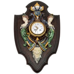"Rare Clock with ""Rustic Figulines"" by Thomas Victor Sergent"