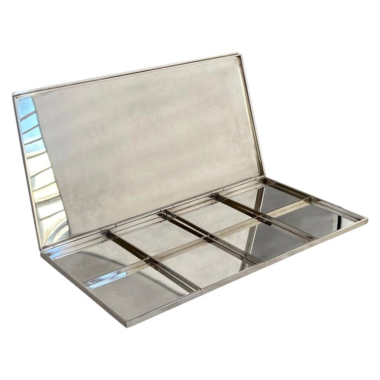 Rare Early Modernist Silver Plated Cigarette Box by Gabriella Crespi, Signed For Sale