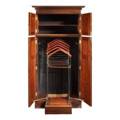 Rare Edwardian Mahogany Mechanical Gentleman's Wardrobe
