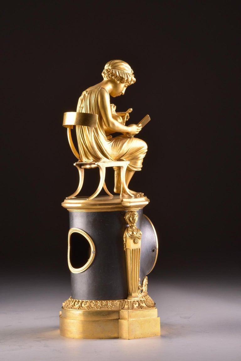 Rare Empire Library Pendule, Reading Child, in the Style of Claude Galle For Sale 3