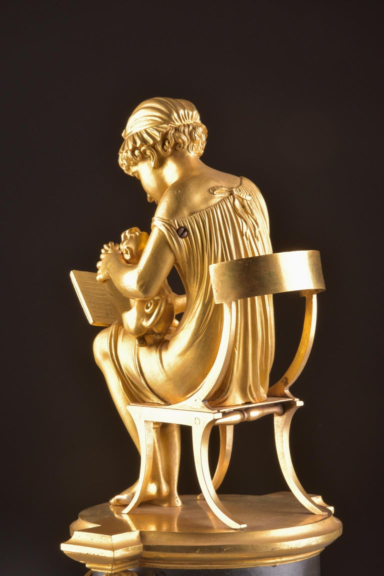 Rare Empire Library Pendule, Reading Child, in the Style of Claude Galle For Sale 7