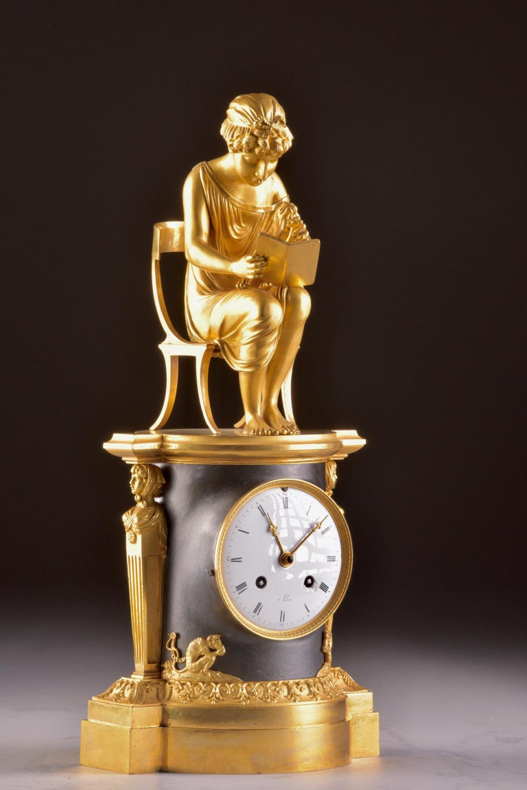 Rare Empire Library Pendule, Reading Child, in the Style of Claude Galle For Sale 8