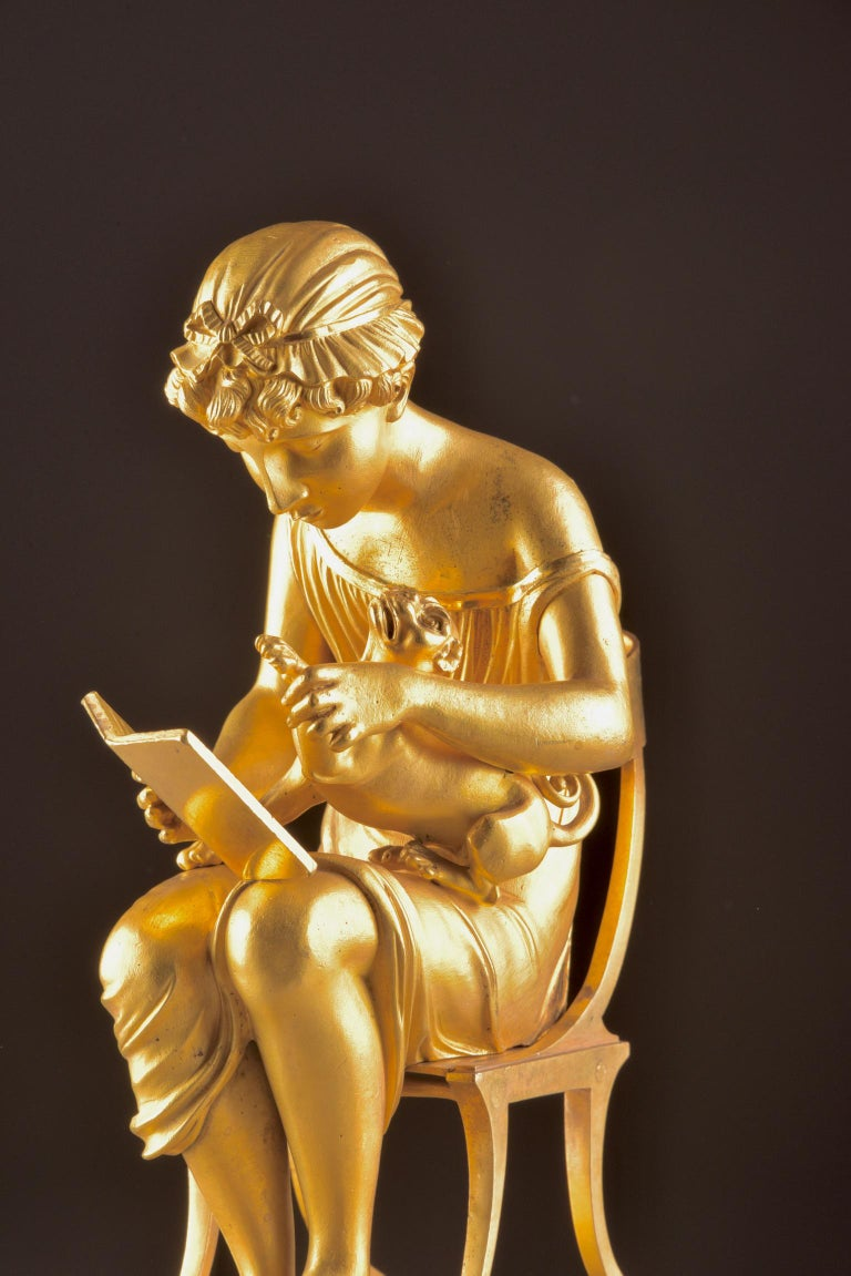 French Rare Empire Library Pendule, Reading Child, in the Style of Claude Galle For Sale