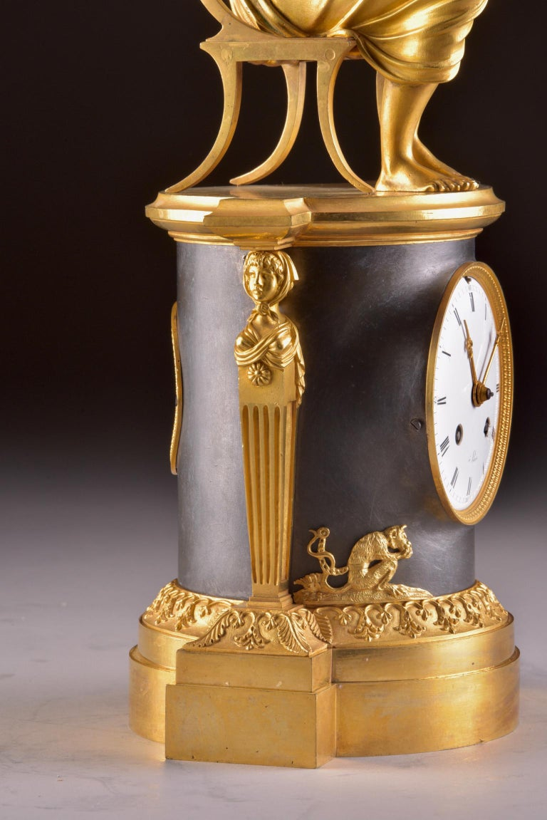 Gilt Rare Empire Library Pendule, Reading Child, in the Style of Claude Galle For Sale