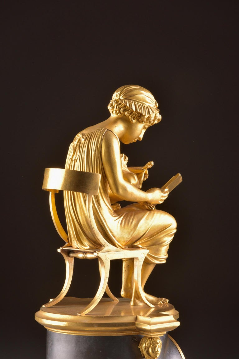 Rare Empire Library Pendule, Reading Child, in the Style of Claude Galle In Good Condition For Sale In Ulestraten, Limburg