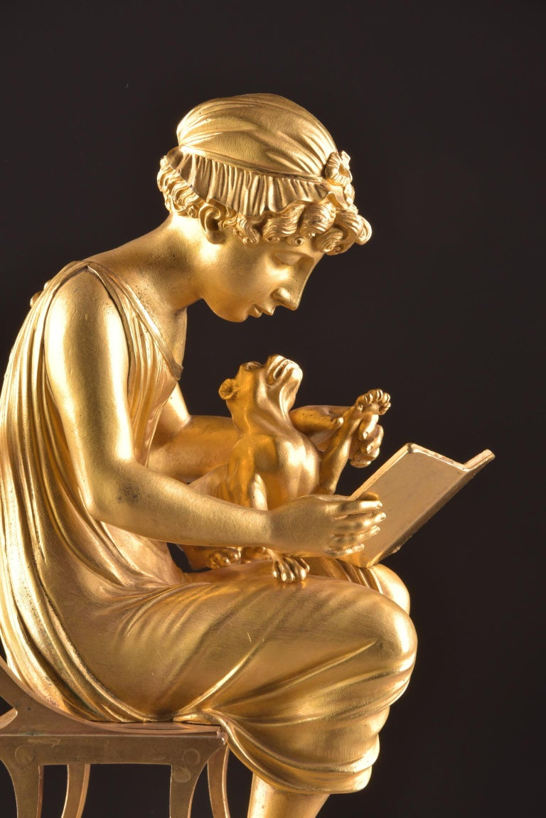19th Century Rare Empire Library Pendule, Reading Child, in the Style of Claude Galle For Sale