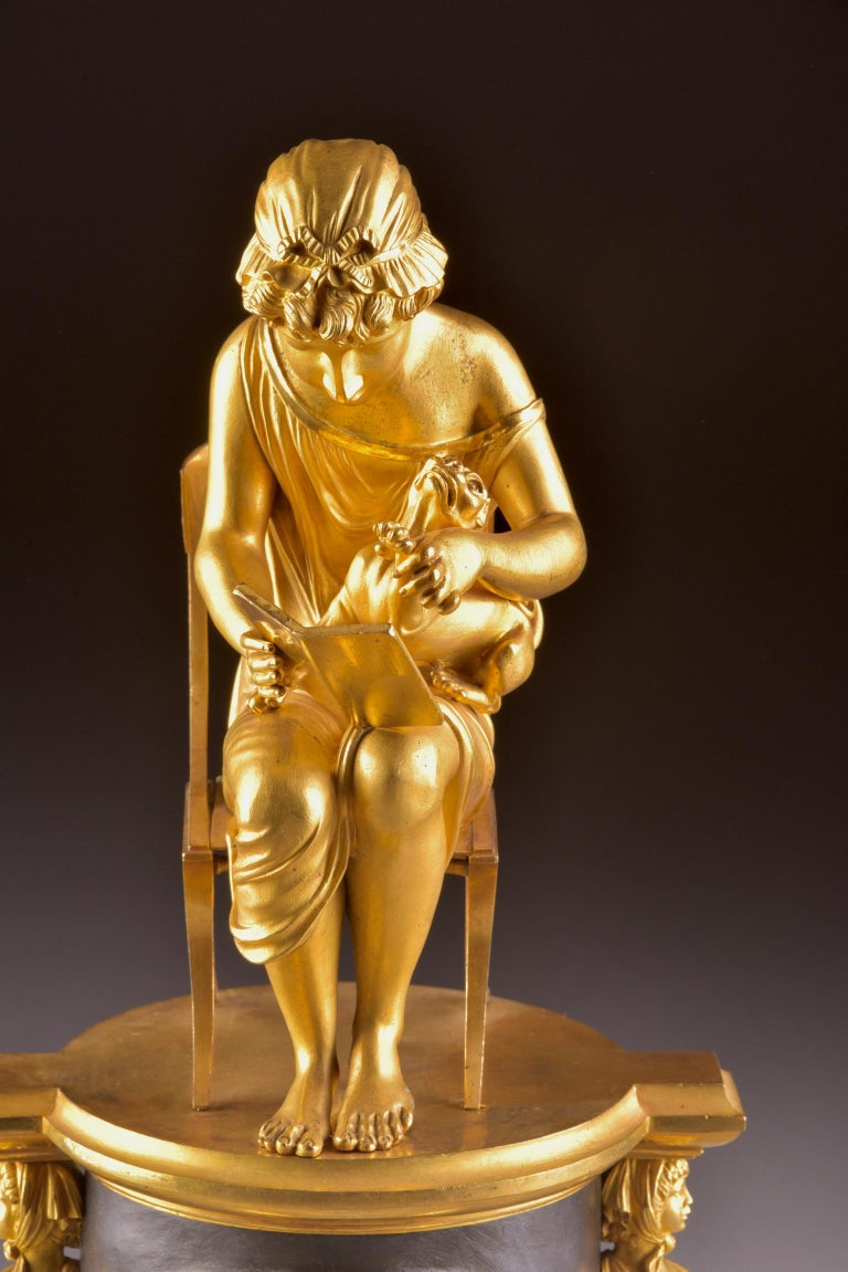 Bronze Rare Empire Library Pendule, Reading Child, in the Style of Claude Galle For Sale