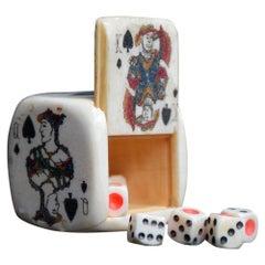Rare English 19th Century Scrimshaw Sailors Gaming Dice Game