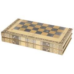 Rare English Silver-Gilt Book-Form Chess and Backgammon Game Board, circa 1976