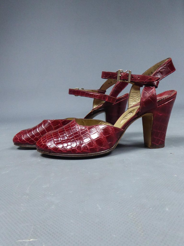 Women's A Rare François Pinet Pair of Shoes in Leather Circa 1935  For Sale
