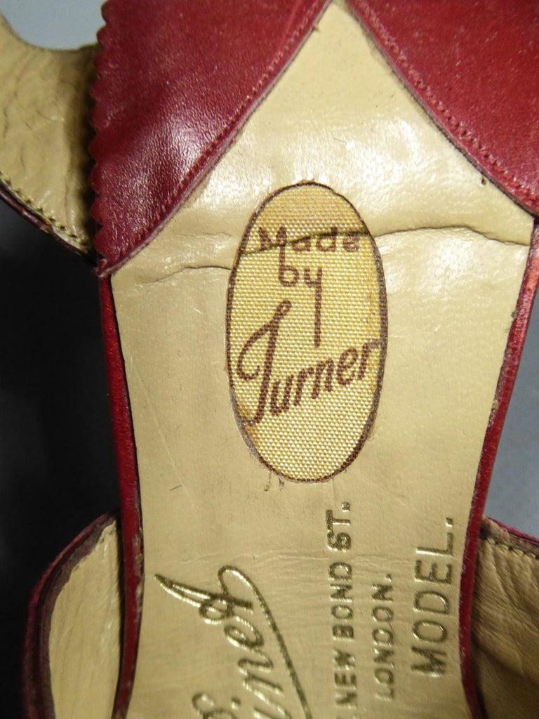 A Rare François Pinet Pair of Shoes in Leather Circa 1935  For Sale 4