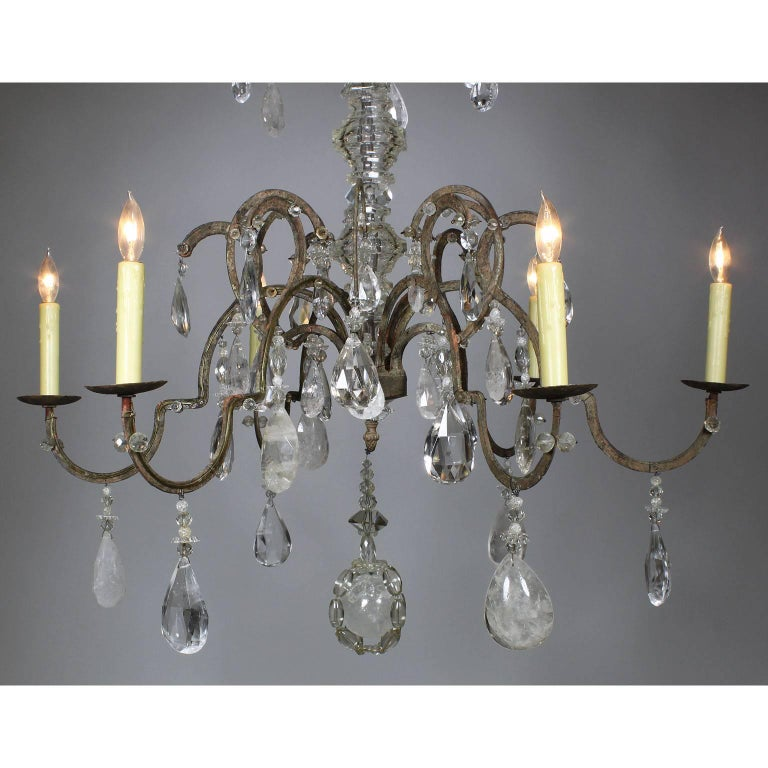 Carved Rare French 19th-20th Century Louis XV Style Metal and Rock-Crystal Chandelier For Sale