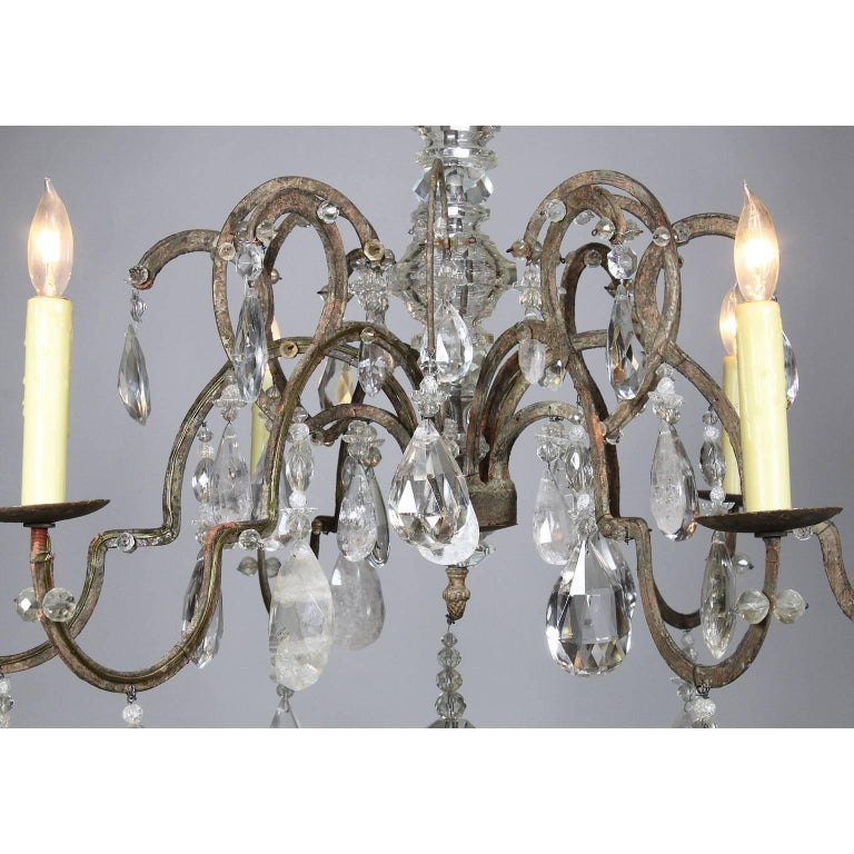 Rare French 19th-20th Century Louis XV Style Metal and Rock-Crystal Chandelier In Good Condition For Sale In Los Angeles, CA