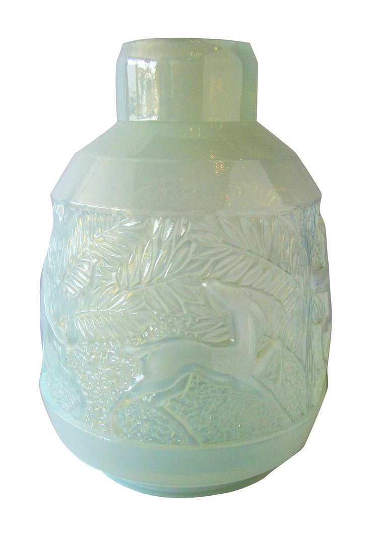 Rare French Art Deco Iridescent Glass Vase, Etling For Sale 10