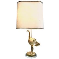 """Rare Gabriella Crespi Gilt Metal """"Struzzo"""" Lamp with Real Ostrich Egg Centre"""