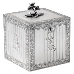 Rare George III Tea Caddy Made in London in 1767 by Augustin Le Sage