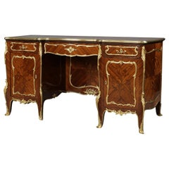 Rare Gilt-Bronze Mounted Marquetry Pedestal Desk by François Linke, circa 1900