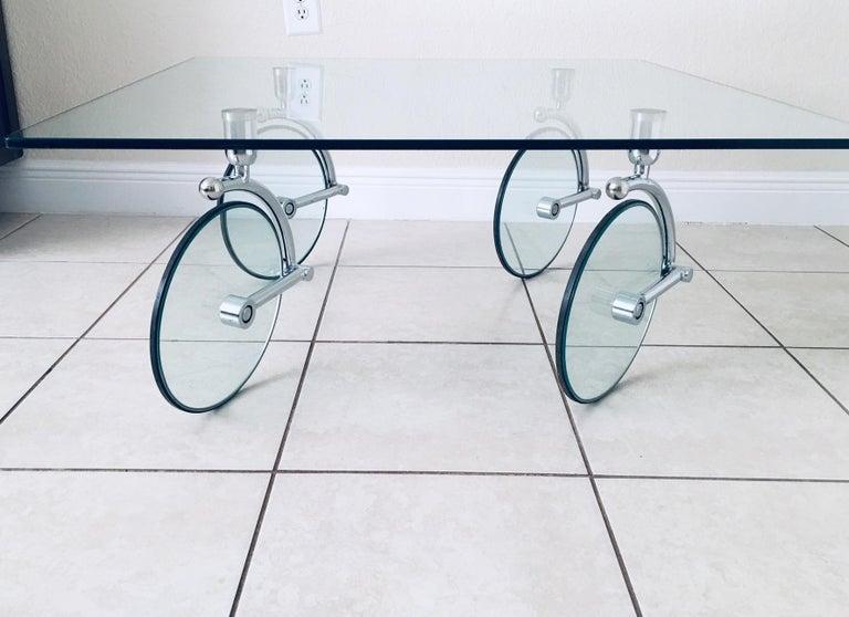 Mid-Century Modern Rare Glass Wheel Coffee Table by Fontana Arte, circa 1970s For Sale