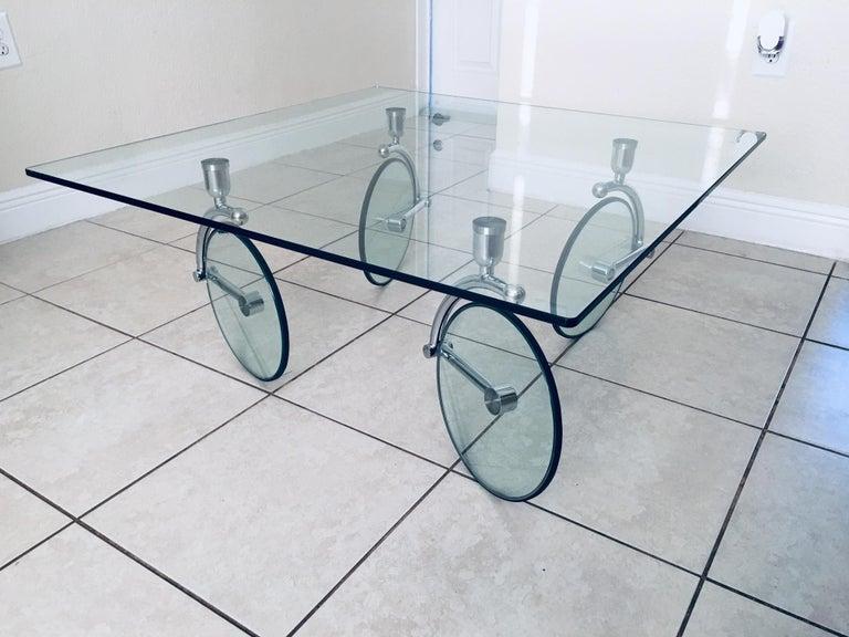 Italian Rare Glass Wheel Coffee Table by Fontana Arte, circa 1970s For Sale