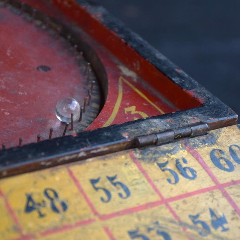 Rare Illegal Early 20th Century Folk Art English Gambling Roulette Bar Game In Fair Condition In London, GB