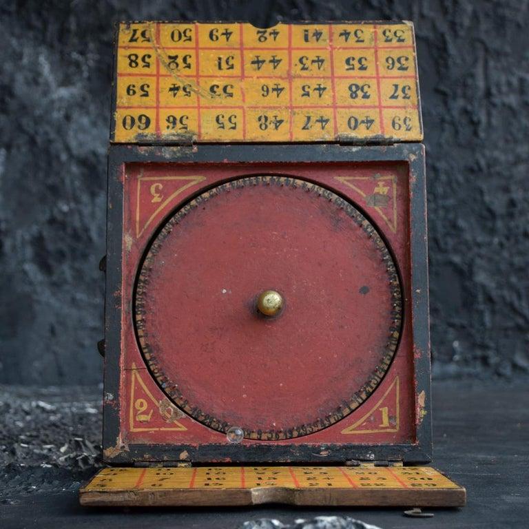 Wood Rare Illegal Early 20th Century Folk Art English Gambling Roulette Bar Game